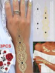 3PCS Colorful Tattoos+1PC Flash Tattoo Gold Tattoo Flash Metallic Tattoo Tatoo Temporary Tattoo Sticker Metal Tatoos
