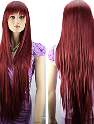 Women's Fashionable Red  Length Wig with Side Bang
