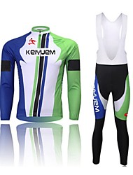 KEIYUEM® Cycling Jersey with Bib Tights Unisex Long Sleeve BikeWaterproof / Breathable / Quick Dry / Windproof / Insulated / Rain-Proof /