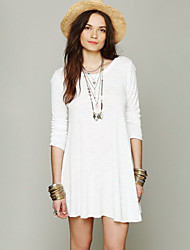 Women's Solid White Dress , Casual Round Neck Long Sleeve