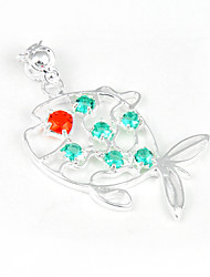 Fashion Forward Green Red Quartz Gem 925 Silver Fish Shaped Pendants for Necklaces For Wedding Daily  1pc