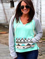 Women's Patchwork Green Hoodies , Casual Hooded Long Sleeve