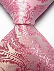 Men Wedding Cocktail Necktie At Work Pink White Flower Tie