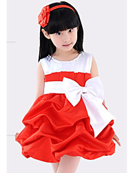 Vestido Chica de - Verano / Primavera / Otoño - Mezcla de Algodón - Rojo
