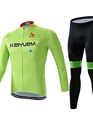 KEIYUEM® Cycling Jersey with Tights Men's Long Sleeve BikeWaterproof / Breathable / Quick Dry / Windproof / Insulated / Moisture