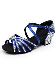 Customized Women's and Child's  Dance Shoes Full diamond toe Satin Modern/Latin/ Samba Blue / Black / Brown