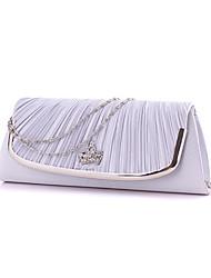 Women Satin Minaudiere Clutch / Evening Bag - White / Pink / Gold / Silver / Black