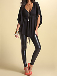 Women's Casual/Daily Simple Fall Blouse,Solid V Neck Short Sleeve Black Cotton Opaque