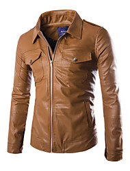 Men's Fashion Casual/Classic Pockets Spliced Fake/PU Leather Jacket