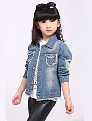 Girl's Cute Pocket Design Cartoon Beauty Chartlet Buttoned Long Sleeve Ripped Denim Coat For