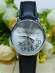 Whatever I'm Late Anyway Watch With Leather Band/ Unisex Watch, Quartz Analog Wrist Watch