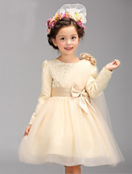 Girl's Vogue  Cotton Blend Fall/Winter  One-Shoulder Gauze Flowers Pearl  Gauze  Princess Dress
