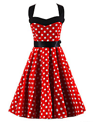 Women's Red White Polka Dot Dress , Vintage Halter 50s Rockabilly Swing Dress