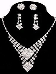 2 Pairs of Rhinestone Earrings with Wedding/Party Jewelry Sets Crystal Pendant Necklace Ring Bracelet Drop Earrings Sets