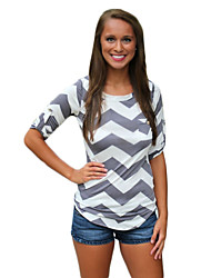 Women's Summer T-shirt,Striped Round Neck Short Sleeve Gray / Yellow Spandex Opaque