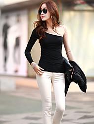 T-Shirt Da donna Traforato Rotonda Manica lunga Cotone