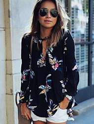 Women's Europe Popular Print V Neck Long Sleeve Loose Blouse Shirt