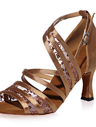 Non Customizable Women's Dance Shoes Latin Satin / Paillette Flared Heel Black / Brown / Red / Gold