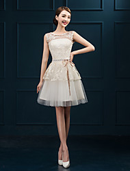 Short/Mini Tulle Bridesmaid Dress - Champagne Sheath/Column Jewel