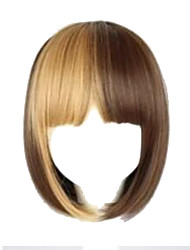 Brown Mixed Women Fashion Short Straight Hair Girl Full Wigs Cosplay Party Wig