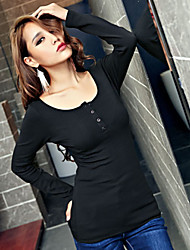 Women's Solid White / Black T-shirt , U Neck Long Sleeve