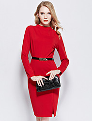 Women's Casual Solid A Line Dress , Turtleneck Knee-length Cotton