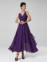 Ankle-length Chiffon Bridesmaid Dress - Grape / Royal Blue Ball Gown V-neck