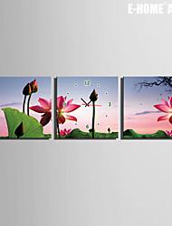 E-HOME® Lotus Clock in Canvas 3pcs