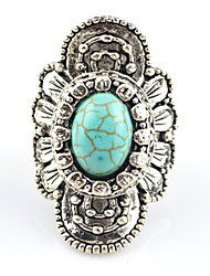Vintage Antique Silver Amethyst Turquoise Stone Princess Crown Adjustable Free Size Ring(1PC)
