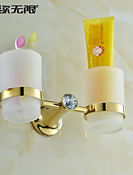 """Toothbrush Holder Ti-PVD Wall Mounted 215 x 100 x 50mm (8.46 x 3.94 x 1.97"""") Brass Contemporary"""