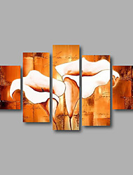 Ready to Hang Stretched Framed Hand-painted Oil Painting Canvas Wall Art White Lily Flowers Modern Five Panels