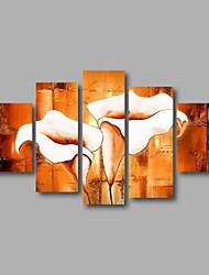 Ручная роспись Абстракция / Цветочные мотивы/ботаническийModern 5 панелей Холст Hang-роспись маслом For Украшение дома