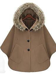 Women's Solid Blue / Brown Coat , Vintage / Casual Long Sleeve Tweed