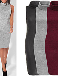 Aier Women's Solid Color Red / Gray Dresses , Party / Work High-Neck Sleeveless