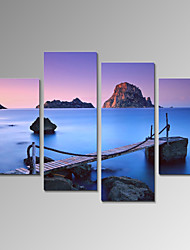 VISUAL STAR®Sea bridge Seascape Stretched Canvas Print 4 Panel Wall Art Ready to Hang