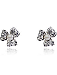 Korean Fashion Studded With Drill Clover Pearl  Earrings