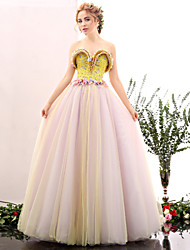 Formal Evening Dress A-line Sweetheart Floor-length Tulle / Satin Chiffon with Flower(s) / Pattern / Print / Pearl Detailing