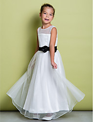 A-Line Floor Length Flower Girl Dress - Tulle Sleeveless Jewel Neck with Ribbon by LAN TING BRIDE®