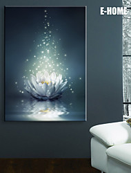 E-HOME® Stretched LED Canvas Print Art White Lotus on The Water LED Flashing Optical Fiber Print One Pcs