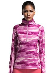 Course Hauts/Tops Femme Manches longues Respirable Course Vansydical Vêtements de sport Rose Foncé Rayure S / M / L / XL