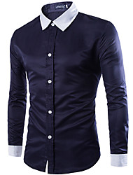 Men's Solid Casual / Work / Formal ShirtSilk / Cotton Long Sleeve Black / Blue / White / Gray