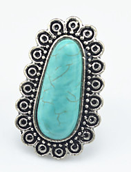 Vintage Look Antique Silver Oval Turquoise Stone Adjustable Free Size Ring(1PC)