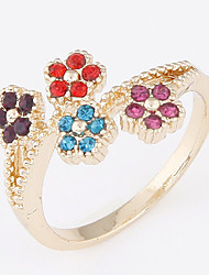 Exquisite Fashion Rhinestone Sweet Small Flower Ring