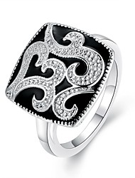 Top Quality Silver Plated Black Oil Drip Vintage Retro Unique Flower Pattern Rings Jewelry for Women Wedding Party Wholesale