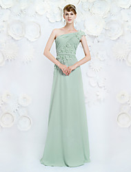 Formal Evening Dress A-line One Shoulder Floor-length Chiffon with Appliques