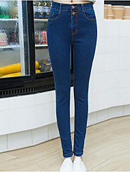 Women's Solid Blue / Black Denim Pant , Casual