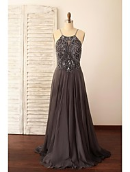 Formal Evening Dress A-line Spaghetti Straps Sweep / Brush Train Chiffon with Beading