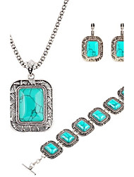 Big Square Turquoise Three-Piece Necklaces Bracelet And Earrings Set Retro Luxury Suite Crystal Jewelry Set