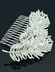 Feather Hairpins Crystals Rhinestone Bridal Hair Combs Wedding Hair Jewelry Accessories