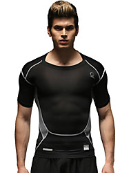 Running Tops Men's Short Sleeve Breathable Running Sports Sports Wear Black S / M / L / XL